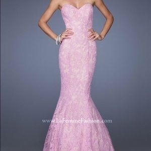 La femme pink lace mermaid style prom dress